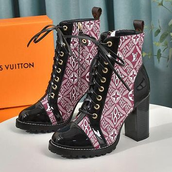 LV Louis Vuitton Martin boots Monogram print Shoes High heel high tops Shoes Red