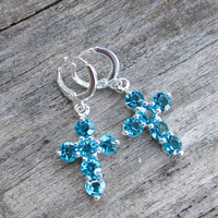 Aqua Marine Sparkle Cross Earrings, Silver Plate Lever Back, Lt Blue Cross Dangles, Christian Gift,  Light Blue Crystal Cross, Religious