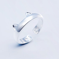925 sterling silver cute cat ear opening ring ,personalized fashion ring ,a perfect gift