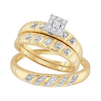 10kt Yellow Gold His & Hers Round Diamond Cluster Matching Bridal Wedding Ring Band Set 1/8 Cttw 96757