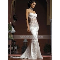 New Style Sexy Mermaid Sweetheart Court Train Satin Tulle Lace Beading Embroider Dress for Bride (TMWD1414) - US$ 232.99