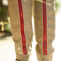 Saddle Up Tall Red Zipper Riding Boots - Beige from Breckelles at Lucky 21