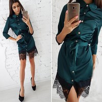 Women Vintage Patchwork Lace Button Dress Ladies Casual Turn-Down Collar Sashes Mini Dresses 2018 Autumn Female Party dress