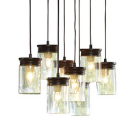 Shop allen + roth 8-1/2-in W Oil Rubbed Bronze Pendant Light with Clear Shade at Lowes.com