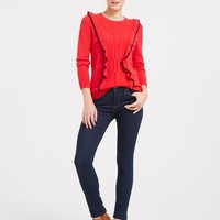 Anna Ruffle Cable Sweater | Draper James