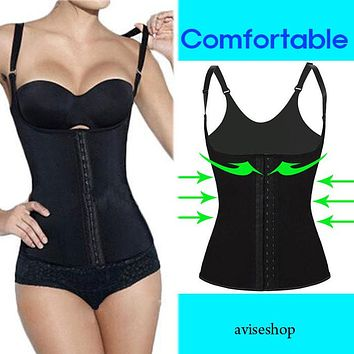 Women Underbust Latex Waist Cincher Vest Trainer Girdle Control Chaleco Body Shaper Shapewear
