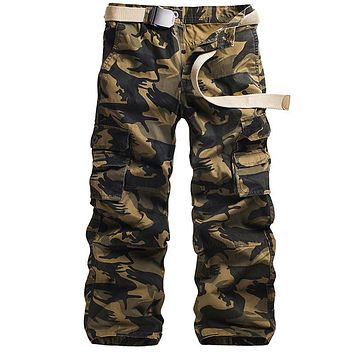 Cotton Military Men Cargo Pants Casual Autumn Camouflage White Grey Khaki Army Green Soft Male Long Loose Trousers