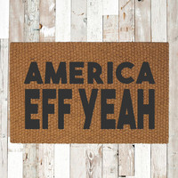 America Eff Yeah Welcome Doormat – Hand Painted Outdoor Rug – Custom Doormats by UrbanOwlCo – 4th of July Independence Day Patriotic Decor