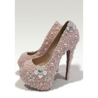 LJ Couture | LJ Couture Daisy Crystal Heeled Party Peep Toe Shoes in Pink - As seen on Nicola McLean | Spoiled Brat
