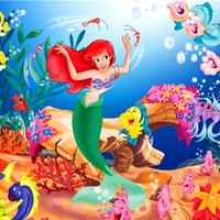 Custom Canvas Art The Little Mermaid Poster Little Mermaid Princess Wall Stickers Fairy Tale Wallpaper Mural Kids Decor #2568#