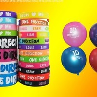 20pcs I Love ONE Direction Bracelet Silicone Wristband so in Love Heart 1d 20pcs