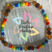 Adult Baltic Amber Bracelet/Anklet designed with 100% Baltic amber multicolored round beads, rainbow colored glass beads.