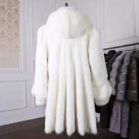 womens winter fashion luxury Mink fur coat of the whole Slim long hooded water mink coat D22