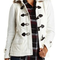 Faux Fur Lined Toggle Fleece Coat by Charlotte Russe - Ivory
