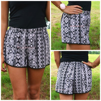 Hypnotized Tan Aztec Pom Pom Shorts
