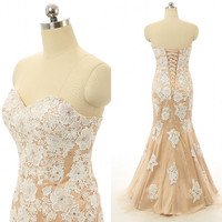 Sweetheart Neck Strapless Beaded Lace Champagne Mermaid Prom Dress Lace Up Back Tulle