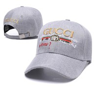 Gucci Fashionable Women Men Sport Sunhat Letter Embroidery Baseball Cap Hat Grey