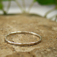 Thin Hammered Sterling Silver Stacking Ring