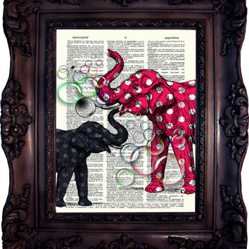 Elephants with Bubbles. Print on book page. Vintage Art Print on Dictionary Page. Elephant Art print. Wall art. Dictionary print. Code:517