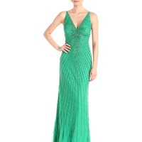 Adrianna Papell Women's Sleeveless V-Neck Allover Beaded Gown with Open Back