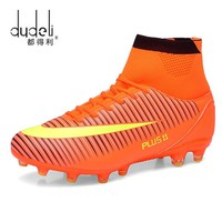 DUDELI 2018 New Men Long Spikes Spike Football Boots Men Soccer Shoes High Ankle Cleats Sneakers Outdoor High Soccer Sport Shoes