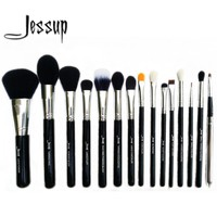 Jessup Pro 15pcs Makeup Brushes Set Powder Foundation Eyeshadow Concealer Eyeliner Lip Brush Tool Black/Silver