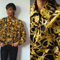 Vtg Gold Dollar Signs Crosses Stars Baroque Chain Print Button Up Jacket