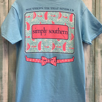 "Simply Southern ""tie that binds us"" tee - Sky blue"
