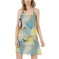 2020 new women's tie-dye pleated slim V-neck open back loose dress