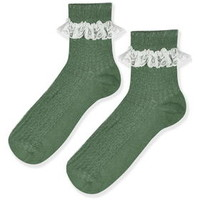 Lace Trim Ankle Socks - Green