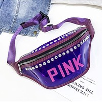 Victoria Pink New fashion letter diamond shoulder bag waist bag chest bag women Purple
