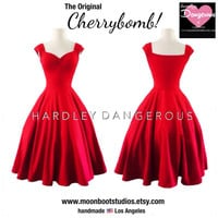 Ready to Ship, Misses Size Large EMPIRE WAIST Style, Mid Calf Length Dress, Cherry Red
