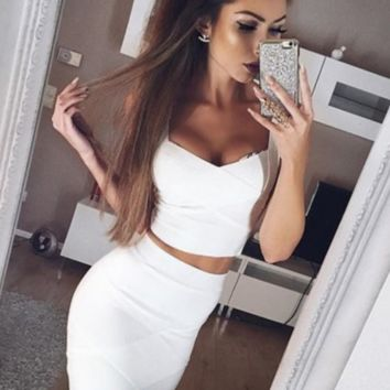 FASHION SEXY TWO PIECE DRESS SUIT