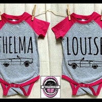baby Thelma and Louise CAR image Pink Baseball T-shirts. Baby bodysuit. Set of 2. Mix or Match baby or toddler. best friend shirts. Children