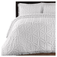 Queen size Flower Lattice 100% Cotton Chenille Bedspread Set with 2 Shams in White