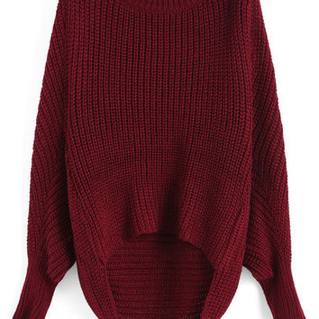 Red Oversized Knit Winter Trendy Sweater