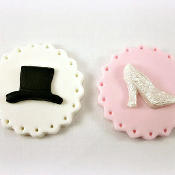 12 Cupcake / Cookie Wedding Fondant Toppers,Top Hat and Bridal Shoe Cupcake Toppers, Engagement Cookies, Bridal Shower Fondant Decoration