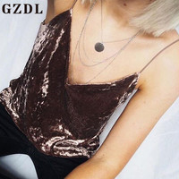GZDL Summer Women Tank Tops Corduroy Sleeveless Strappy Solid Fitness Sexy Party Female Spaghetti Strap Blouses Blusas CL3462