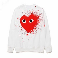 Play Autumn And Winter New Fashion Love Heart Splashing Ink Print Keep Women Men Warm Long Sleeve Top Sweater White
