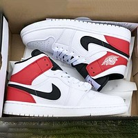 Air Jordan 1 OG AJ1 Trending Women Men Casual Sport Basketball Shoes Sneakers White&Red