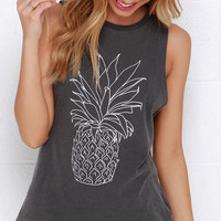 Amuse Society Pineapple Grey Muscle Tee