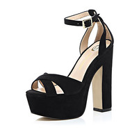 River Island Womens Black block heel platform sandals