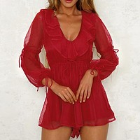 Casual Beach Boho Party Playsuit Sexy Long Sleeve Playsuit Ruffles Short Jumpsuit Rompers