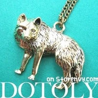 Wolf Fox Animal Pendant Necklace in Bronze | Animal Jewelry