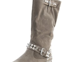 Doll House Rockstar Taupe Studs Buckle Knee High Motor Boots and Shop Boots at MakeMeChic.com