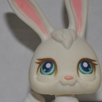 Rabbit #3 (White, Blue Eyes)(Number Written On Bottom) - Littlest Pet Shop (Retired) Collector Toy - LPS Collectible Replacement Single Figure - Loose (OOP Out of Package & Print)