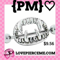 Accessorize with Sexy Pierce Me 316L Surgical Steel Nipple Jewelry Love Bite Fangs Vampire Fang Nipple Shield Nipple Ring Jewelry 1 Pair