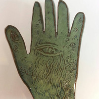 Unique Hand Design Pottery Ring Holder Business Card Holder Soap Dish by Michele Patton