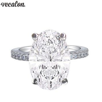 Vecalon Dazzing 925 Sterling silver Engagement Ring oval cut 4ct AAAAA Zircon Cz Wedding band rings for women Finger Jewelry