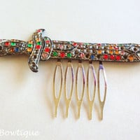 Legend of Zelda Style 1930s Colorful Silvertone Rhinestone Sword Art Deco Hair Comb